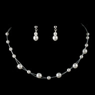 Illusion White Pearl Child's Jewelry Set