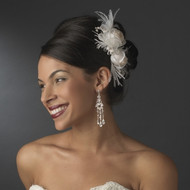 Ivory and Rum Pink Hair Flower Fascinator Bridal Comb - sale!