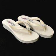 Ivory Low Heel Wedge Bridal Flip Flops with Sequins