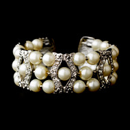Cream  Pearl and Crystal Wedding Bracelet