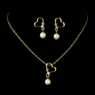 Ivory Pearl with Gold Heart Child's Jewelry Set