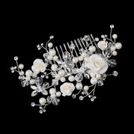 Ivory Rose, Pearl and Crystal Wedding Hair Comb