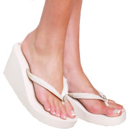 Ivory Sequined Bridal Wedge Flip Flops