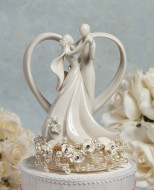 Vintage Rose Couple with Heart Wedding Cake Topper
