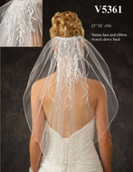 JL Johnson Bridal Elbow Length Veil V5361 with Venise Lace