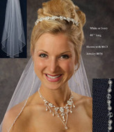 JL Johnson Bridal C332 Fingertip Pearl and Crystal Wedding Veil
