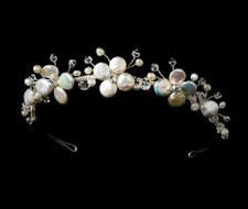 Coin Pearl and Crystal Beach Wedding Tiara