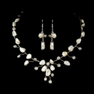 Keshi Pearl and Rhinestone Beach Wedding Jewelry Set - sale!