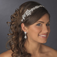 Lavish Antique Silver Crystal Bridal Headband