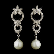 Light Ivory Pearl and CZ Wedding Earrings