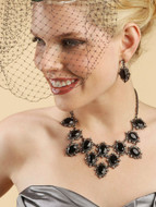 "14"" Long Chin Length  Black Birdcage Wedding Veil"