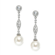 CZ Wedding Dangle Earrings with Bold Cream Pearl 3625E
