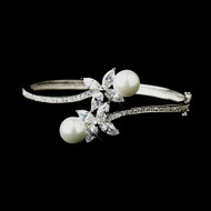 Marquise CZ and White Pearl Wedding Bangle Bracelet