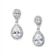 Silver plated CZ Teardrop Wedding Earrings 3520e - Clip on or Pierced