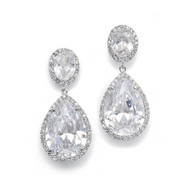 Couture Pear CZ Drop Silver Bridal Earrings 2074E - pierced or clip