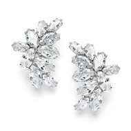 Elegant CZ Marquis Cluster Wedding Earrings 3598E - pierced, clip