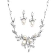 Freshwater Pearl and CZ Wedding Jewelry Set 3041S