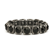 Jet Black Crystal Stretch Bracelet for Wedding or Prom
