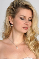 Classic Pearl and CZ Wedding Jewelry Set