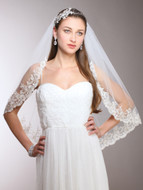 Romantic Beaded Lace Elbow Wedding Veil 3771V