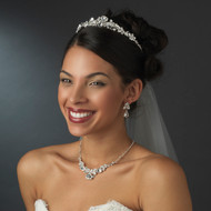Majestic Silver or Gold Plated Bridal Wedding Tiara and Jewelry Set