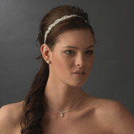 Modern Vintage Look Crystal Bridal Ribbon Headband - sale!