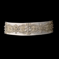 Elaborate Pearl and Crystal Beaded Wedding Dress Belt Sash - sale!