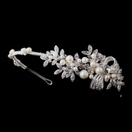 Charming Pearl and Crystal Side Accent Wedding Headband hp939