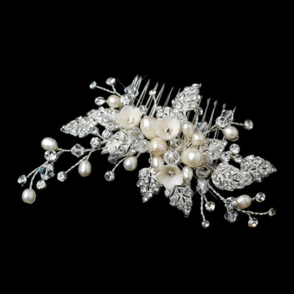 Pearl and Rhinestone Floral Wedding Hair Comb