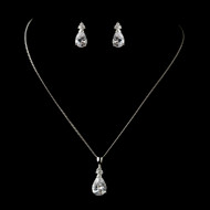 Pear Cut Teardrop CZ Wedding or Prom Jewelry Set