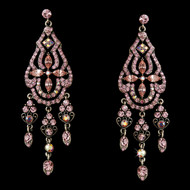 Glitzy Pink Rhinestone Chandelier Earrings