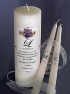Purple Floral  Personalized Unity Candle Set with Verse Choice
