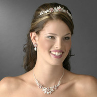 Red and Silver Floral Tiara and Wedding Jewelry Set