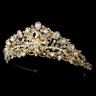 Regal Freshwater Pearl and Crystal Gold Bridal Tiara