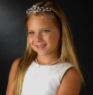 Rhinestone and White Pearl Heart Flower Girl Tiara