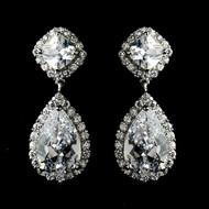 Silver Plated Cubic Zirconia Drop Bridal Earrings