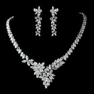 Stunning Marquise Cubic Zirconia CZ Wedding Jewelry Set