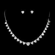 Rhinestone Heart Theme Wedding Jewelry Set