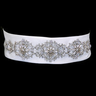 Vintage Inspired Rhinestone Floral Sash Wedding Dress Belt- sale!