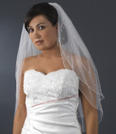Rhinestone and Pearl Accented Two Tier Elbow Bridal Veil