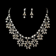 Rhodium Silver and AB Rhinestone Vintage Look Jewelry Set