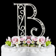 Romanesque Crystal Initial Wedding Cake Toppers