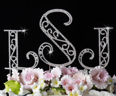 Romanesque Crystal Monogram Wedding Cake Toppers