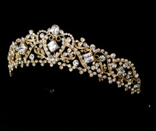 Romantic Gold Rhinestone Bridal Crown Wedding Tiara