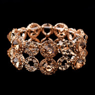 Rose Gold Crystal Stretch Bracelet for Wedding or Prom