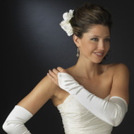 Satin Fingerless Opera Length Bridal and Formal Gloves