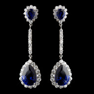 Glamorous Sapphire CZ Crystal Drop Wedding Earrings