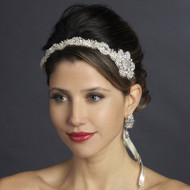 Side Accent Crystal Satin Ribbon Bridal Headband