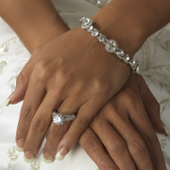 Silver Crystal Bridal and Prom Stretch Bracelet