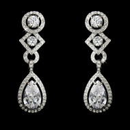 Dramatic Cubic Zirconia Clip On or Pierced Bridal Earrings